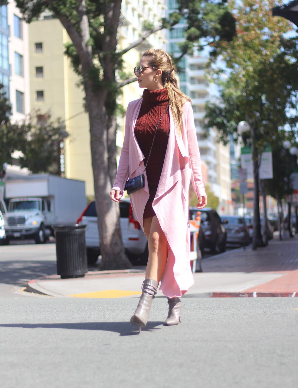 Color Crush Maroon Dress Pink Coat The Fashion Statement